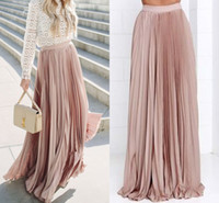 Wholesale Natural Waist Ball Gowns - Stunning Pleated Maxi Blush Skirts For Women Fixed Waist Floor Length Casual Long Skirts Spring Fall Satin Skirts