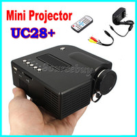 UC28 + LED Mini portátil de luz Home Theater Proyector de vídeo LCD Connect Set Top Box USB TV Juego de consola de DVD Player Digital Pocket Proyector