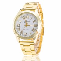 Wholesale Wholesale Roman Fashion Watch - Geneva Hot style and sell tong steel band watches the new trend Fashion Roman Geneva steel belt scale quartz table