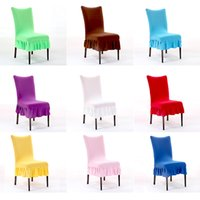 Wholesale Computer Chairs Wholesale - 8 8xy Fashion Multicolor Folds Skirt Chair Covers Office Computer Half Seat Chairs Cover Elastic Thicker Hot Sale High Quality