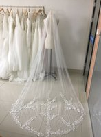 Wholesale Princess Cathedral Veil - 2018 New Arrival Princess Wedding Veils Cheap Long Lace Bridal Veils One Layer Custom Made Lace Applique Edge Bride Veil 3 Meters CPA886