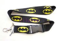 batman telefon askısı toptan satış-Sıcak ! 10 adet Klasik Batman Logo Boyunluklar, KIMLIK kartı tutucu, Anahtar Boyun Askısı İpi, Telefon Boyun Askısı Siyah