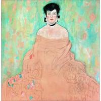 frau porträt ölgemälde großhandel-Gustav Klimt Frau Gemälde Öl Leinwand Reproduktion Portrait Amalie Zuckerkandl Hochwertige Handarbeit