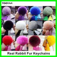 Wholesale Macrame Pendants - Colorful Rabbit Fur Fringe Keychains Tassel Macrame Balls Pom poms Keychain Handbag Purse Car Pendant Ornaments Key Rings