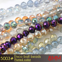 Wholesale Glass Heart Bulk - Hot Selling DIY Crystal Glass Disco Ball Beads 8mm Plated Colors A5003 72pcs set in Bulk