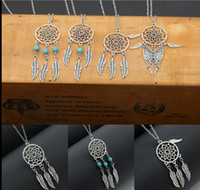 Wholesale Stainless Steel Feather Necklace - 2017 NEW Elegant Dream-catcher Pendant Necklace Fashion Feather Tassel Necklace Jewelry