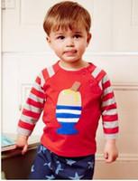 neue design kleinkind kleidung großhandel-Nagelneue Kind-Kleidungs-Baby-Art- und Weisegroßhandelsnetter Entwurfs-langärmlige Karikatur-T-Shirts Kleinkindjungen arbeiten Oberseite freies Verschiffen um