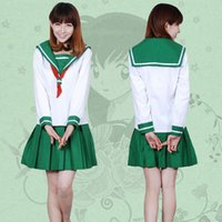 Wholesale Higurashi Kagome Costume - Anime Inuyasha Higurashi Kagome Cosplay Costumes Girls School Uniform Whole Set ( Top + Skirt + Scarf ) Women Sailor Suits