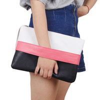 Wholesale Packet Clutch - Fashion Women Handbag Solid Patchwork Lady Day Clutches New Fashion Soft Girl Zipper Packet Fashion Female Casual Bags women bag
