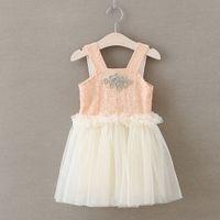 Wholesale Braces Wedding Dress - 2017 Summer Girls Tutu lace dresses Wedding braces birthday dress Girl Dimond waist ruffles Children Botique clothes 2-7year pink