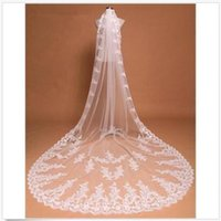 Wholesale Wholesale Cathedral Wedding Veils - Amdml 2017 Hot Sale 3M One Layer Bridal Wedding Veil White Ivory Bridal Accessories Appliques Cheap Wedding Accessories Veil-003