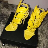 sandálias de salto alto venda por atacado-Gladiador Asas de Anjo Sandalias Roma Estilo Sexy Ultra Fina Saltos de Salto Alto Folha de Ouro Mulheres de Cristal Strappy Sandálias Do Partido Bomba de Sapatos