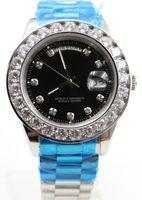 Wholesale Blue Sapphire Set Yellow Gold - AAA Luxury Brand Super President 18K Gold Day Date Men's Watch Big Diamond Prong Set Sapphire original clasp green face fashion Mens Watches