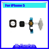 Wholesale Metal Keypad - for iphone 5 home button keypad Menu + flex cable + holder gasket rubber + metal spacer for iphone 5G Home Button Set
