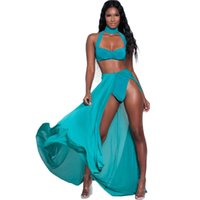 Wholesale Set Top Skirt Bra - Zipper Up Bandage Bras Crop Top and Long Chiffon Skirts Sleeveless High Slit Bodycon Summer Tracksuits Solid 2 Piece Set Women