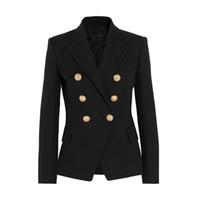 kadın s artı boyutu blazerler toptan satış-YÜKSEK KALITE Yeni Moda 2018 Pist Stil kadın Altın Düğmeleri Kruvaze Blazer Giyim Artı boyutu S-XXL