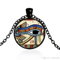 Wholesale Gold Chain Necklace New Model - New Vintage The Eye Of Horus Gemstone Pendant Necklaces For Man Women Mix Models Fashion Jewelry 3 Colors