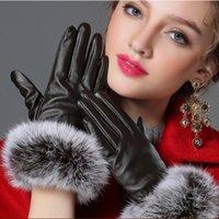 schöne handschuhe frauen großhandel-Wholesale-2016 Schöne kaninchenfell ball PU handschuh Winter frau leder handschuh marke designer