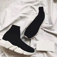 Wholesale casual leather boots men - Double Box Speed Trainer Boots Socks Stretch-Knit High Top Trainer Shoes Cheap Sneaker Black White Woman Man Couples Shoes Casual Boots