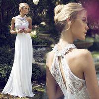 Wholesale Empire Halter Floor Length Chiffon - 2016 Boho Cheap Country Beach Wedding Dresses Halter Empire Modern Floor Length Lace Applique Plus Size Bridal Wedding Gowns