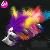 Wholesale Sexy Mask For Carnival - carnival mardi gras venetian mask new party masks masquerade masks halloween color ball feather mask fashion men women sexy half face mask