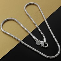 Wholesale Coral Pendant Jewelry - N192 new popular 2016 hot sale promotion solid 925 sterling silver jewelry 3mm 1pc necklace ,new fine 925 16-24inch chain necklace for women