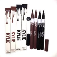 Wholesale Double Side Black Color - Kylie Double-end Waterproof Double Sided Liquid Eyebrow Pen Eyeliner Eye Liner Pencil Makeup Cosmetic Tools Black and Brown