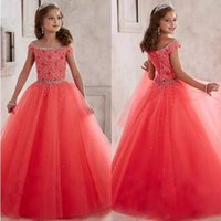 Wholesale Sequin Wedding Sashes - New 2017 Coral Tulle Priness Pageant Flower Girl Dresses For Wedding Birthday Party Off Shoulder Beaded Sequins teen Girls Formal Gown