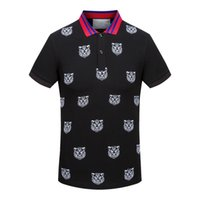 Wholesale T Shirts Label - Summer Fashion Polo Men Designer Label Tee Embroidery Tiger Head Short Sleeve Slim T Shirts For Men Youth T-shirt