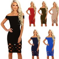 Wholesale Wholesale Two Piece Bodycon - Summer brought slash neck pure color joker render bandage dress skirt. A pack of two pieces of clothes