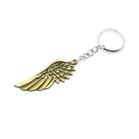 Wholesale Metal Rings Wings - Vintage cooal punk Metal Angel Wing keychain retro unique alloy Feather pendant Key ring chain charm keyring trinket Men Gift