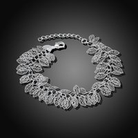2016 New Arrival Silver Plated Leaves Bracelet, Wedding 925 Jewelry Accessories, Coréia Fashion Hollow Blade Series Pulseira Feminina