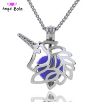 Wholesale Wholesale Lion Necklaces - 5 lot Wholesale 3 Styles in stock 18kgp Fashion King of beasts lion cages DIY pearl  gem beads locket cages Pendant neckl