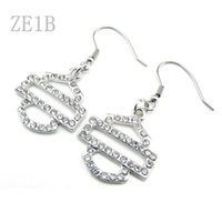 Wholesale Cleaning Crystal Jewelry - Free Shipping! Punk hot sale Motor Club Earrings Zinc Allloy Clean color Crystal Rhinestone Biker Earrings Jewelry