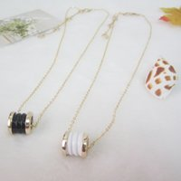 Wholesale Ceramic Jewelry Pendants - New design ceramic wheel pendant necklaces women gold chain chokers necklace&pendants Bridal circle necklace spring fashion jewelry bijoux