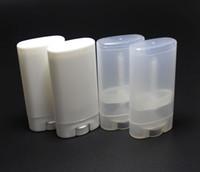 Wholesale Empty Deodorant - 15ml Plastic Empty DIY Oval Lip Balm Tubes Portable Deodorant Containers Clear White Lipstick Fashion Cool Lip Tubes