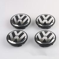 Wholesale Beetle Emblem - VOLKSWAGEN VW 65MM SET OF 4 BLACK CENTER WHEEL HUB CAP LOGO EMBLEM 3B7601171 Free Shipping