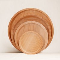 Wholesale Wood Salad - Solid Wood Round Plate Used For Sushi Pizza Bowls Trencher Durable Bamboo Salad Bowl Of Children Plates 24 5cx A