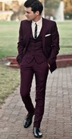 Wholesale Slim Suits For Cheap - Handsome Burgundy Wedding Tuxedos Slim Fit Suits For Men Cheap Jacket Vest And Pants Groom Suit Three Pieces Prom Suits