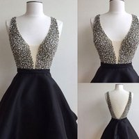 Wholesale Deep Pink Graduation Dress - 2017 Sexy Short Black Homecoming Dresses Beaded V-neck Real Photo Backless Graduation Cocktail Party Gowns For Girls Sweet 16 Dress