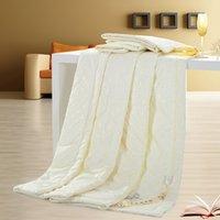 Wholesale Comforter Blanket Duvet Quilt - Wholesale-2016 Home Textile Summer Blankets Silk Soild Color Silk Quilt Comforter Blanket Duvet for Children Students Beige Pink Rose
