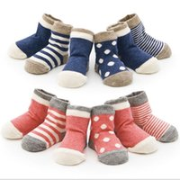Wholesale Wholesale Toddler Socks - Wholesale- 4 Pairs Set Lovely Baby Newborn Infant Toddler Kids Winter Warm Soft Cotton Striped Dots Socks Soft Leg Warmers for 0-3 Years