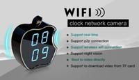 visión de las manzanas al por mayor-WIFI Reloj Cámara IP HD 720P Apple Diseño LCD Reloj Despertador Cámara Grabadora de Video Audio red P2P visión nocturna 160 grados Reloj DVR