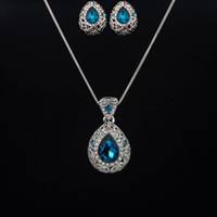 Moda Blue Austrian Crystal Jewelry Sets White Gold Plated Water Drop Colar Brincos Delicate Jóias Conjuntos Para Mulheres