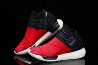 Wholesale vista red - High Quality Y-3 QASA RACER High red Vista Grey Sneakers Breathable Men and Women Running Shoes Couples Y3 Outdoor Trainers Size 5-12