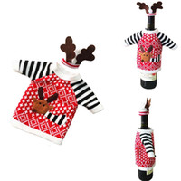 Wholesale Family Christmas Sweaters - Cute Christmas Wine Bottle Cover Bags Set Deer Sweater Party Decoration Santa Claus Xmas Supplies Champagne Bottle Gift Wraps