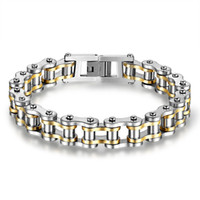 Wholesale motor jewelry - Stainless Steel Men Motor Bicycle Chains Bracelet Motorcycles Wristbands Punk Jewelry Male Biker Brace lace Pulsera 21.5cm*1.3cm 4Color