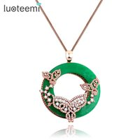 Wholesale Artificial Sweater - LUOTEEMI Statement Necklace Big Round Green Artificial Prong Clear Zircon Fake Necklace Link Chain Sweater Women Jewelry Gift