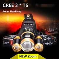 Wholesale High Power Zoom Headlight - Wholesale-Headlamp LED CREE 3 T6 light 18650 battery Zoom waterproof Outdoor Camping Fishing Hunting High Power Rechargeable Headlight