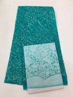 Wholesale Wholesale African Fabrics Textiles - Latest French Tulle Lace Fabrics Textile Embroidered African Lace Fabric With Beads Net Cord Fabrics Dress